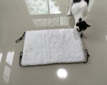 "Cat Pad - Cat Mat - size 20"" x 13.5"" with 4 Stoppers - Accessories for Window Cat Bed, Unique and Luxury, White Fur Long-hair"
