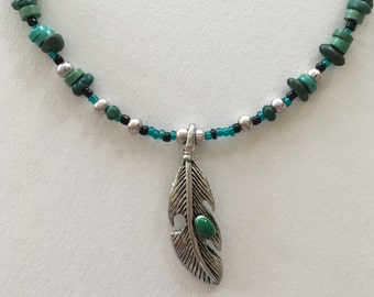 Turquoise and Silver Feather Necklace