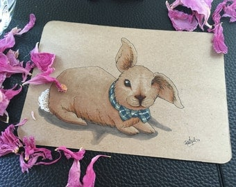 Bunny Art - Original 5x7 Bunny Marker Illustration