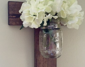 Rustic Mason Jar Cross, Wooden Cross, Farmhouse Wood Cross, Hanging Cross, Farmhouse Decor, Rustic Decor, Wedding Cross