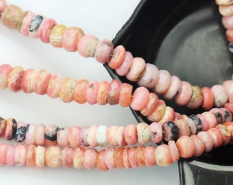 8 inch long strand faceted PINK PERUVIAN OPAL rondelle beads 4 x 9 -- 6 x 11 mm