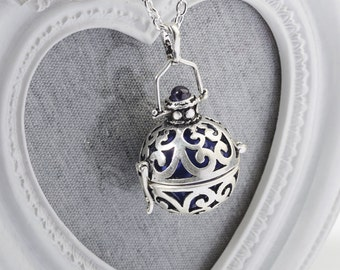 Harmony Cage AZURRA with Purple Bola Ball Pendant & Necklace - Pregnancy Maternity Necklace Mum to Be Gift