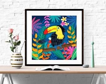 Tucan bird illustration 23x23cm (UK shipping inclusive)