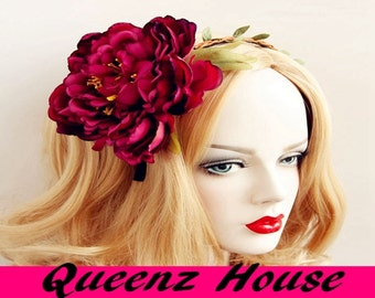 Queenz house cosplay costume big flower hairband headband