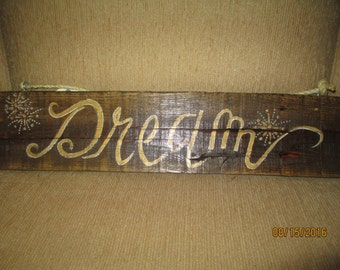 Handpainted wooden signs on reclaimed wood rustic , primative