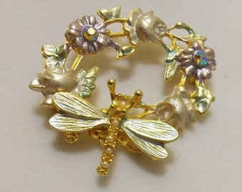 "Gold Plated Pastel Dragonfly Flower 2"" Brooch Pin"