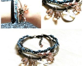 Multi strap bracelet with gems and beads
