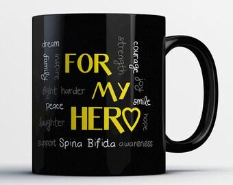 Spina Bifida Awareness Gift - For My Hero Support Spina Bifida Awareness - Spina Bifida Mug