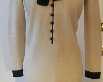 1970's Vintage Adolfo Designer Dress Cream Black Wool Knit