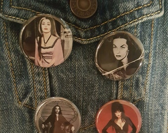 Ladies of Horror, Elvira, Lily Munster, Morticia and Vampira 1.25 buttons, pins, Magnets
