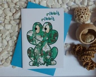 Frog Greeting card, Frog illustration, Card for Frog lovers, gems, A6