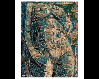 Art print digital Creation - female nude - No. 67 - 24 x 32 cm on A3