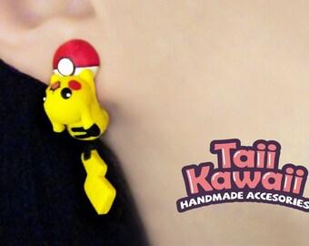 Pikachu and pokeball earrings
