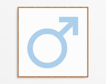 Blue Boy Symbol Art Nursery Print - Blue Nursery, Nursery Art, Nursery Decor, Blue Art, Baby Boy Room, Baby Boy Nursery, Male Symbol