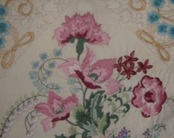 Victorian floral pillow