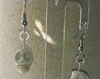 White turquoise skull earrings