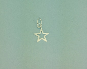925 Tiny sterling open silver star pendant. 10mm tiny star pendant. Perfect for necklace. Open star charm.