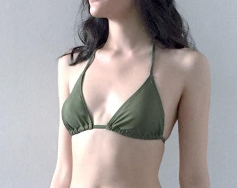 Small TOP- The Waverly String Bikini Olive Green Small