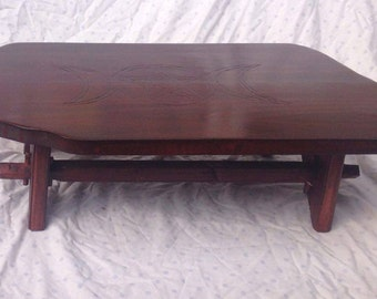 Handmade wooden carved pagan altar table