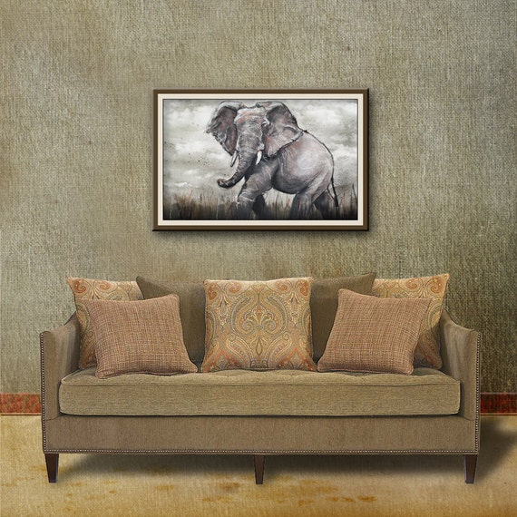 Elephant Wall Art Print from an original watercolour painting by Corinne Dany / Animal Print /  Kids Room / Elephant / Wild / Gift