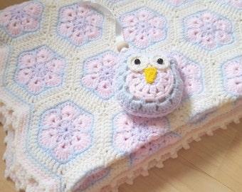 "Handmade Baby Blanket Crochet Baby Blanket 31""x38"""