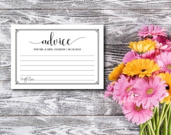Advice Card, Rustic, Kraft Letter, DIY Wedding Advice, Wedding Advice Card, Template, DIY Editable PDF, Printable Instant Download E75F