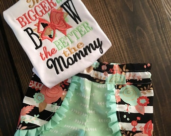 The Bigger the Bow the Better the Mommy  Applique Tee and Matching Coachella Shorts