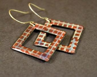 Maroon Plaid Enamel Earrings