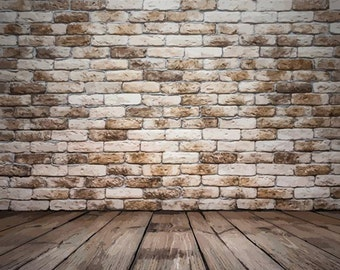PolyPro Vinyl Photography Backdrop #1172 Brown Brick & Wood Floor---Available in many sizes!