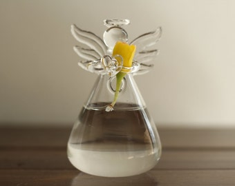 Clear Glass Angel Shape Flower plant stand