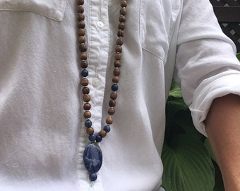 woman sodalite mala necklace