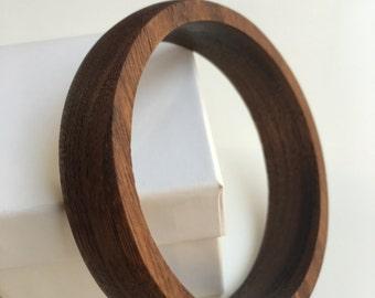 Wood Bangle Bracelet - Walnut Wood - Handmade - Handcrafted