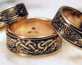 Celtic Birds ring 14 karat gold, Celtic band