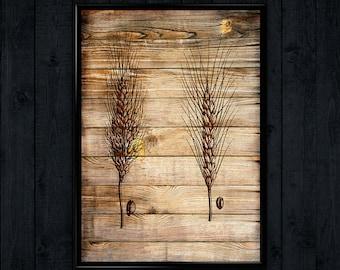 Beat Print, Wooden Art decor, Spike Poster, Bread Illustration  WP095