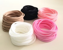 SELECT COLORS n QUANTITY - Wholesale Nylon Headbands - skinny | 65 cents each for 100 | White Pink Black Nude Nylon Headbands