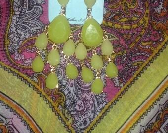 Green Vintage Chandelier Earrings