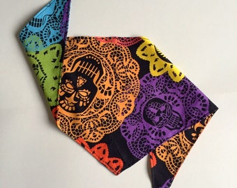 Candy Skull Print Dog Bandana