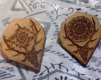 Mandala & Fractal Stag Pin