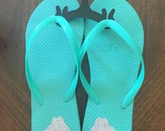 Cute embellished flip flops