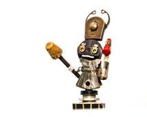 The Warrior Queen Robot, Robot Sculpture, Assemblage doll, Unique recycled metal desk sculpture, found object art, junk metal art, quirky