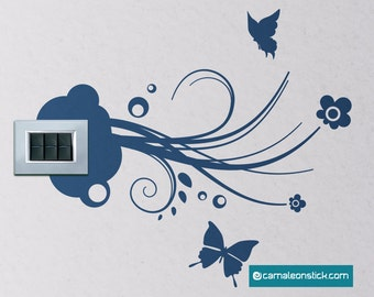 Electrical outlet butterflies-wall stickers-wall decal nature