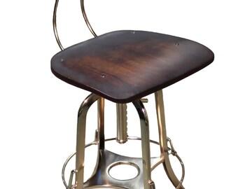 Bar Stool Chair Kitchen Breakfast Wooden Iron Nickel