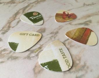 Upcycled Panera Gift Card Guitar Picks - 5 Pack