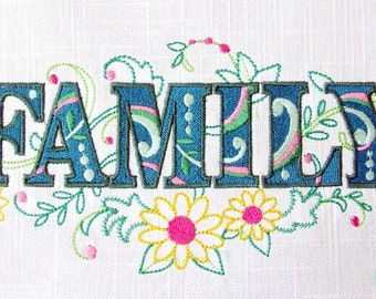EMBROIDERED QUILT BLOCK or panel, 100% cotton (Family)