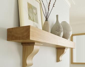 Solid oak Shelf traditional corbels