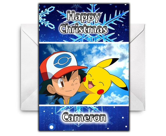 POKEMON Personalised Christmas Card - Pikachu