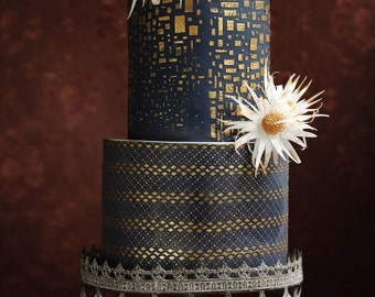 Gold& Navy Wedding Cake