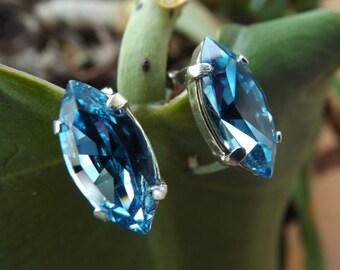 "Swarovski earrings 925 Silver ""Aquamarine"" and shuttle"
