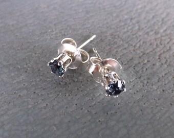 "Earrings Swarovski 3 mm ""Denim blue and Silver 925"