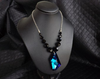 "925 Silver necklace with Swarovski Crystal ""De-Art"" color ""Bermuda blue"""